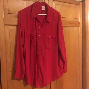 Long sleeve red button down shirt